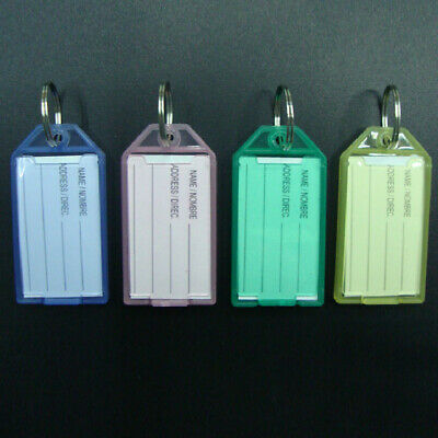 40PCS New Colorful Transparent Plastic Luggage ID Label Key Tags Keychains B4