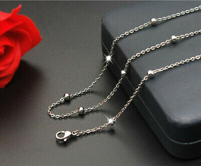 1.3mm 316L Stainless Steel Exquisite Silver Color Necklace Chain 40-50cm Length