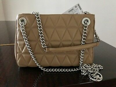 fe52f20b6110 NWT Michael Kors Scarlett leather Quilted messenger bag Beige Silver  MSRP 328.00