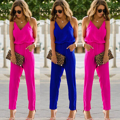 Women Ladies Clubwear Summer Playsuit Jumpsuit Romper Long Pants Party Trousers