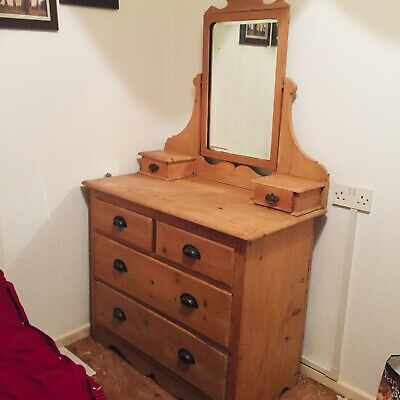 Victorian Pine Dressing Table With Mirror