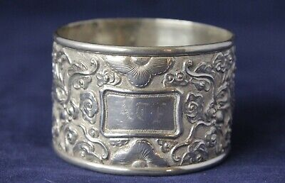 Asia Chinese Export .85 Silver Napkin Ring Dragon Design Hammered Sing Fat 18 Grams