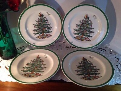 """Spode Christmas Tree Dinner Plate 10 3/4"""" #S3324 Made in England Set of 4"""