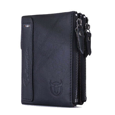 BULLCAPTAIN BIFOLD Vintage brand leather MEN wallets leather money zipper S R1P2