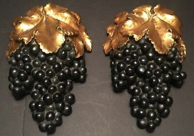 Pair Of Vintage Borghese Gold Gilt Plaster Chalkware Grape Cluster Wall Pockets