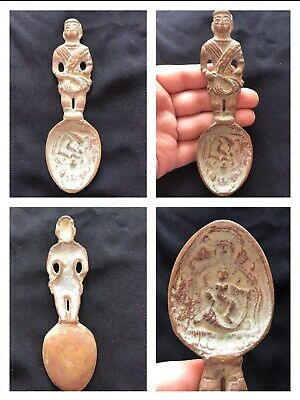 Very Old Wonderfull Roman Bronze Spoon With Male Statue