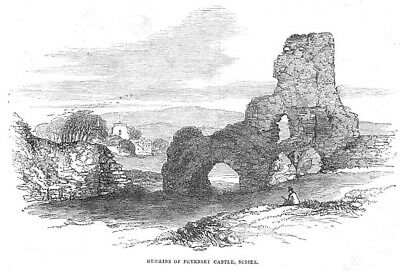 SUSSEX The Remains of Pevensey Castle - Antique Print 1852