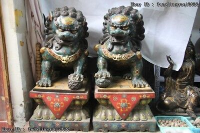 "39"" Chinese Pure Bronze Cloisonne 24k Gold Mythical Animals Fu Foo Dog Lion Pair"