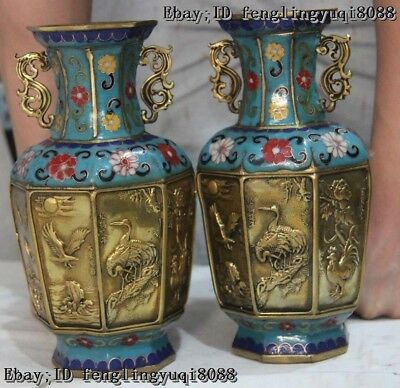 Chinese Cloisonne Wire Inlay Enamel Pure Bronze Lucky Animal Pattern Vase Pair