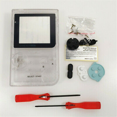 Clear White Full Housing Shell Case Kit for Nintendo Game Boy Pocket GBP