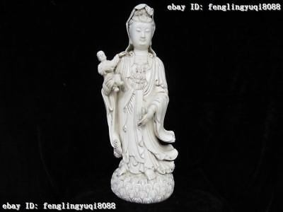 Chinese De Hua White porcelain handwork made largess Boy Bodhisattva Kwan-Yin