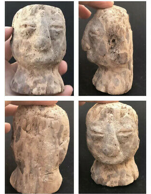 Very Rare Ancient Old Bactrian Face Ground digeing wood Head Statue 2nd Bc