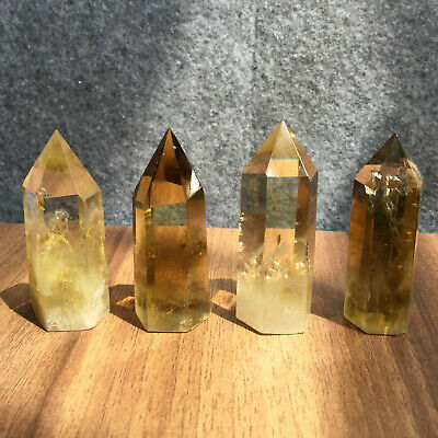 natural smokey citrine quartz obelisk crystal wand point healing 4pcs G130