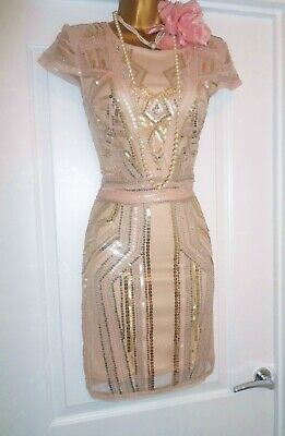 Vintage Style 1920s Gatsby Flapper Charleston Sequin Beaded Dress Size 14