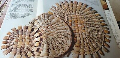 Weaving Pattern Raffia Macrame  Rushwork How To, 3 Oval Table mats  Reproduced