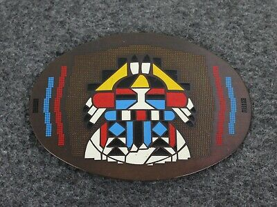 Vintage Native American Hand Detailed Winco Assoc. Solid Brass Belt Buckle