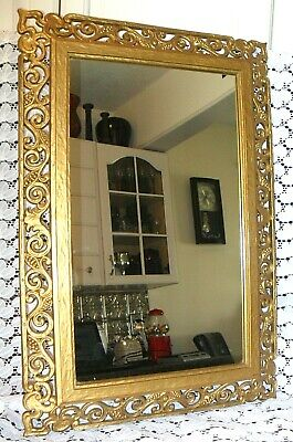 Vintage 2 Pc SYROCO Gold MIRROR & SHELF Wall Hanging Home Decor Interior Design