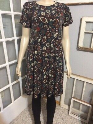 3afe2ff343239 LULAROE CARLY BLUE Multicolor Floral Print Hi-Lo Dress Very Soft ...