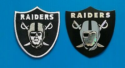 2 OAKLAND RAIDERS  Embroidered Easy Iron On Sewn On Patch & Decal  W/ Free Ship