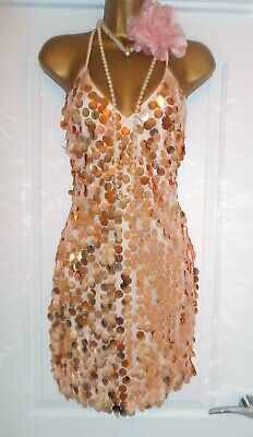 Vintage 1920s Style Gatsby Flapper Charleston Beaded Sequin Dress Size 8