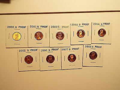 Lincoln Cent Proof Set.2000,2001,2002,2003,2004,2005,2006,2007,2008.