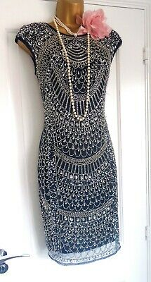 Vintage 1920s Style Gatsby Flapper Charleston Beaded Sequin Dress Size 8/10 NEW