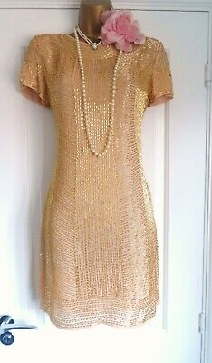 Vintage 1920s Style Gatsby Flapper Charleston Beaded Sequin Dress Size 10