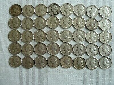 1962-D Washington Quarters Full Roll 40 Silver Coins - Average Circulated
