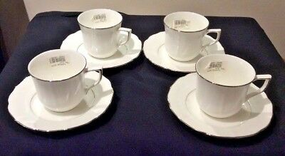 Mikasa Silver Moon Capo2 Lot Of 4 Cup & Saucer Sets Nwt Platinum Rim & Verge