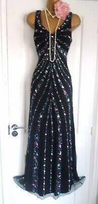 Vintage 1920s Style Gatsby Flapper Charleston Sequin Beaded Dress Size 8