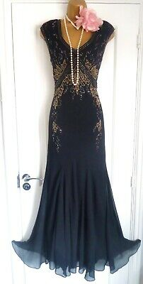 Vintage 1920s Style Gatsby Flapper Charleston Sequin Beaded Dress Size 12