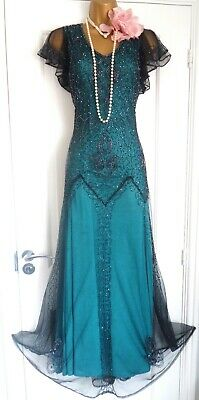 Vintage 1920s Style Gatsby Flapper Charleston Sequin Beaded Dress Size 10/12 M