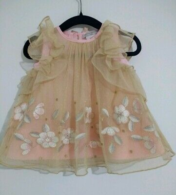 87557209a88f BNWOT Catherine Malandrino Baby Girl Pink Occasion Dress UK size 3-6 Months