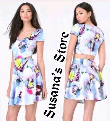 NWT BEBE SUNNY FLORAL DAY FLARE DRESS SIZE L Club-ruling  SEXY