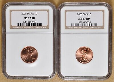 2005 P & D SMS Lincoln Memorial Pennies NGC MS67RD