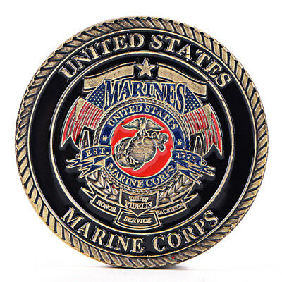 US Marine Corps Gold Plated Coin Collection Art Gift Commemorative Coins Gi BI