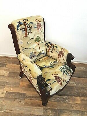 Antique 1840 Victorian Carved Lions Head library chair armchair reading chair
