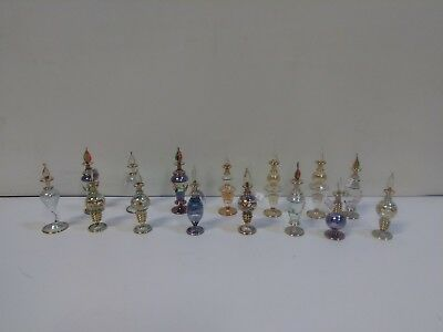 Egyptian Perfume Bottles Hand Blown Decorative Glass Lot of 15