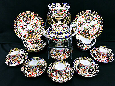 Rare c 1800 Antique Royal Crown Derby Imari Dessert Set Teapot Coffee Can Cups
