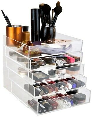 daisi Large 5 Tier Clear Acrylic Cosmetic Makeup Cube Organizer, Open Top Shelf