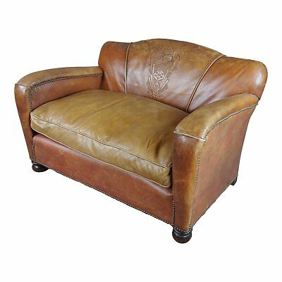 Antique 1930s English Leather Settee