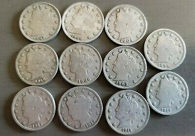 Nice  lot  of Eleven different better date/grade Liberty Head Nickels