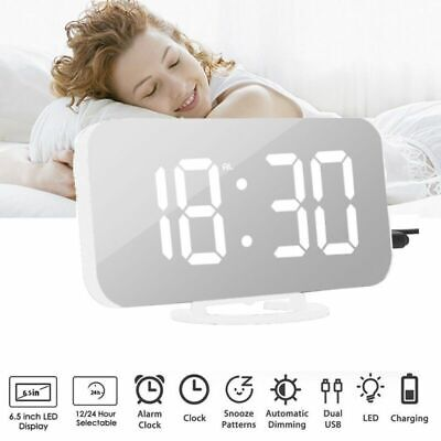 Mirror LED Alarm Clock Night Lights Digital Clock Snooze Timer with Dual USB