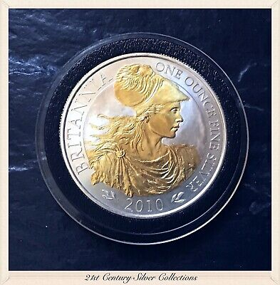 2010 Great Britain Britannia 1 oz .999 Silver £2 24K Gold Gilded BU