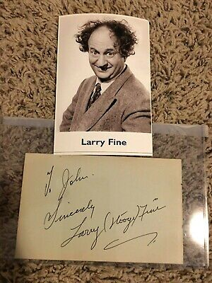 LARRY FINE signed autograph page THE THREE STOOGES (1942)