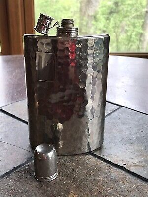 Vintage Silver Hammered Metal Tin Lined Flask Made In Germany 10 ounce