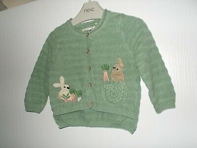 Next Baby Girls Green Embroidered Bunny Rabbit Fine Knit Cardigan 6-9 Months Vgc