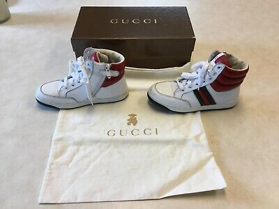 f282ea27f245 Gucci Kids Boy Girl Sz EU 31 High-Top Leather Sneakers Shoes GG Trainers
