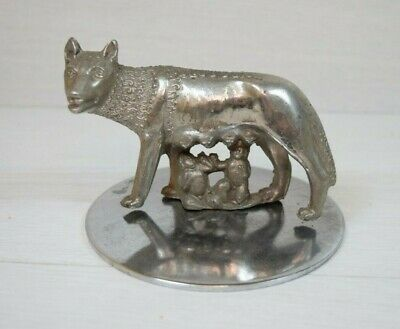 Vintage Metal Figurine Sculpture Capitoline Wolf Legend The Founding of Rome