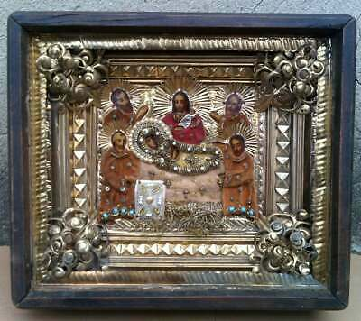 """Antique 19c Russian Orthodox Hand Painted Wood Icon """"Assumption of the Virgin"""""""
